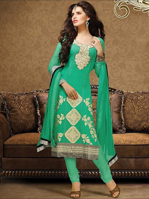 1009SeaGreen and Beige Georgette Straight Suit