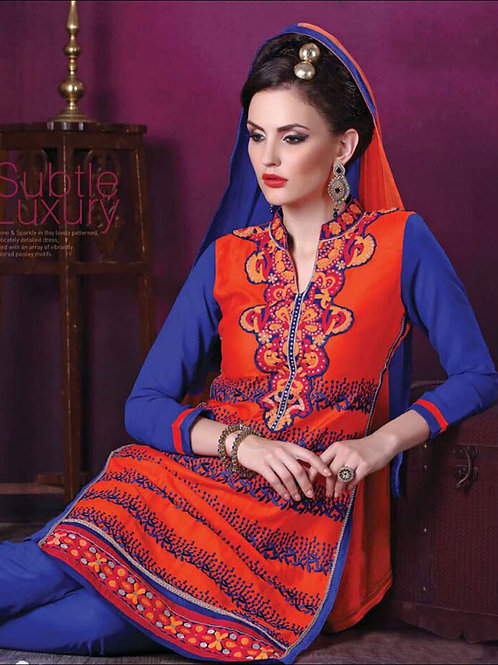 109DarkOrange Daily Wear Embroidered Satin Cotton Designer Suit