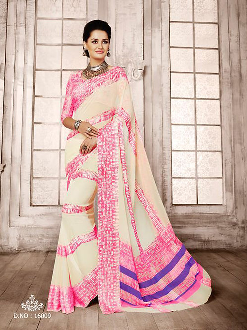 16009Cream and Pink Exclusive Function Wear Georgette Saree