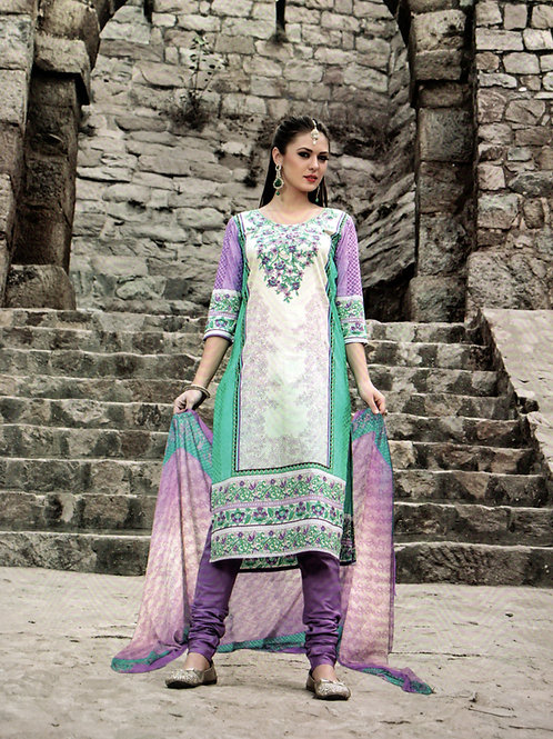 1009White and Multicolor Printed Cotton Daily Wear Straight Suit