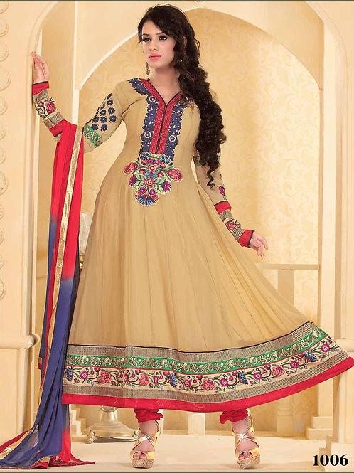 1006 Designer Khaki Georgette Anarkali Suit