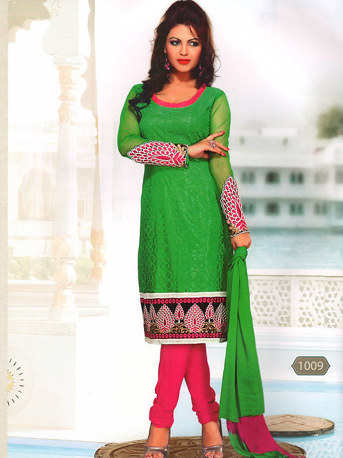 1009Green and Pink Party Wear Russel Net Salwar Suit
