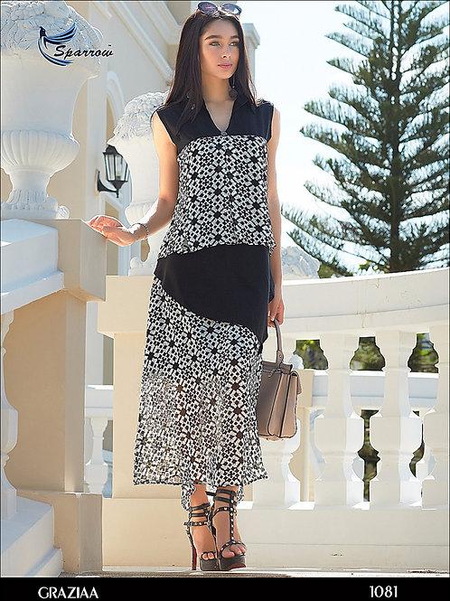 1081 White Designer Georgette Kurti