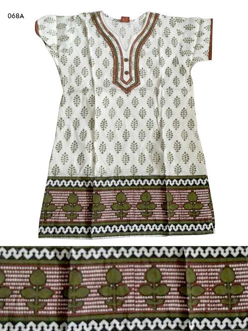 068A Cream and Mehandi Green Designer Cotton Kurtis