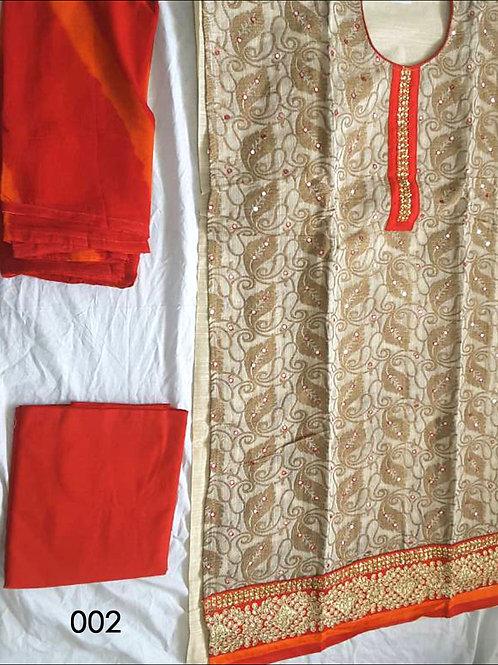 002 Beige and Red Designer Salwar Suit
