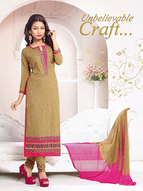 1483CamelBrown and Pink Georgette Straight Suit