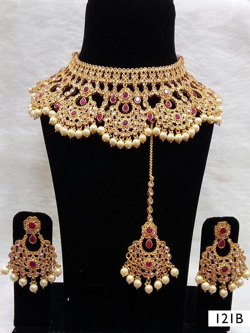 121B Maroon Bridal Wear Necklace Set With Maang Tika