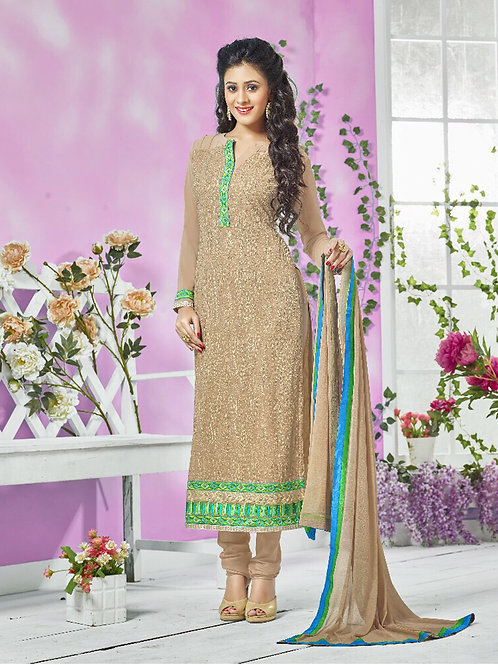 13006SandBrown and SeaGreen Party Wear Georgette Straight Suit