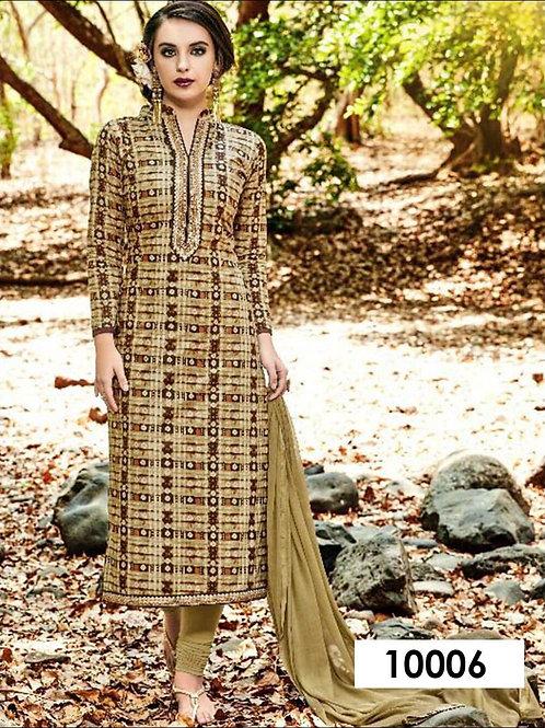 10006 Khaki and Multicolor Designer Straight Suit