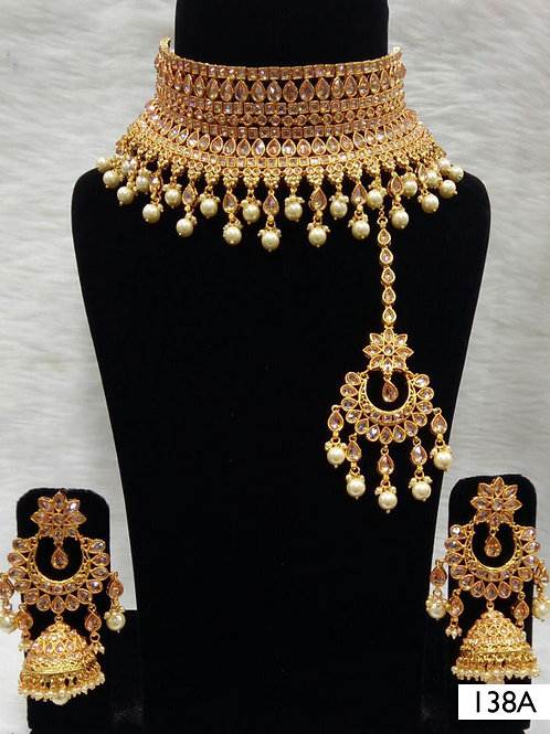 138A Golden Bridal Wear Necklace Set With Maang Tika