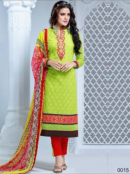 0015 Green Yellow and Red Cambric Cotton Straight Suit