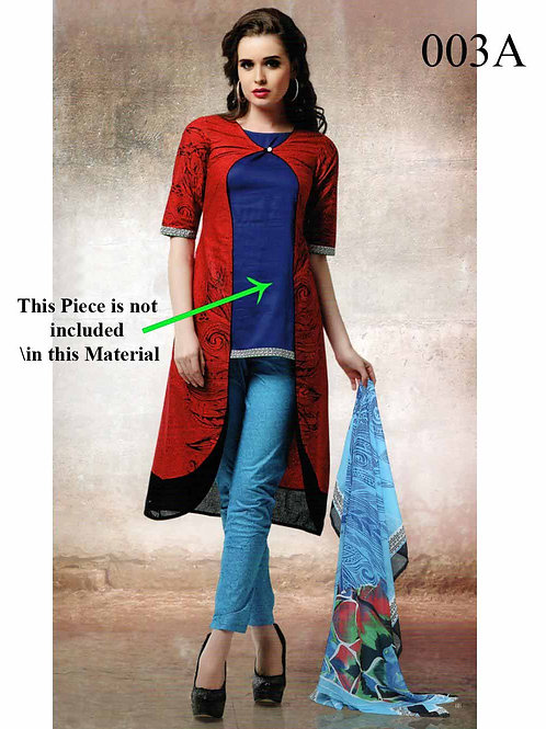 003A Red and SkyBlue Lawn Cotton Chudidar Suit