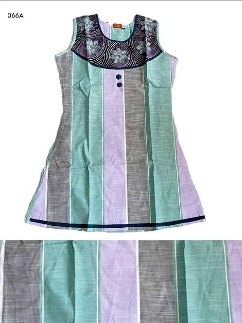 066A Sea Green and Lavender Designer Cotton Kurtis