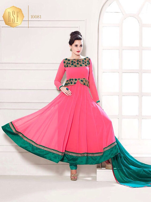 10081BrightPink and SeaGreen Party Wear Georgette Anarkali Suit