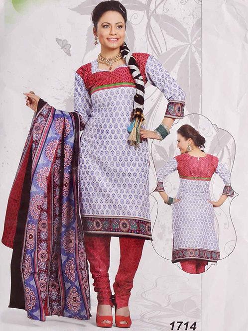 1714 White Printed Salwar Suit