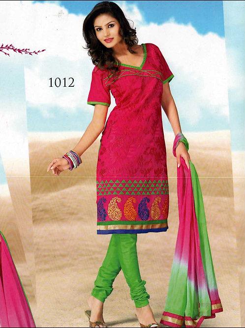 1012DarkMagenta and ParrotGreen Chanderi Chudidar Suit