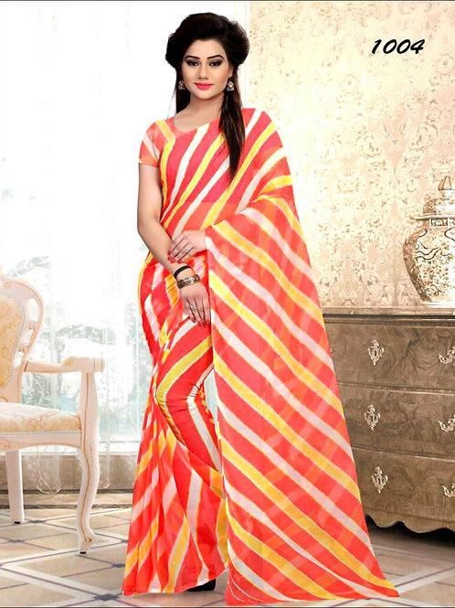 1004 Red Printed Laheriya Saree