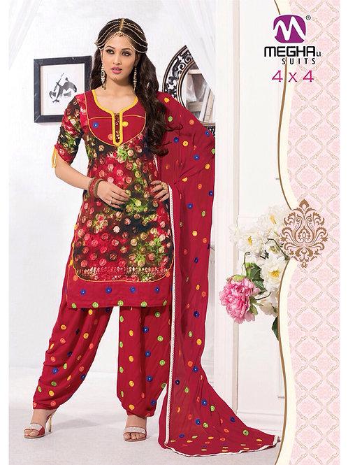 11Red Cambric Batik Patiyala Suit