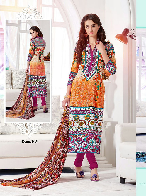 105Orange and Pink Cotton Satin Party Wear/Daily Wear Straight Suit