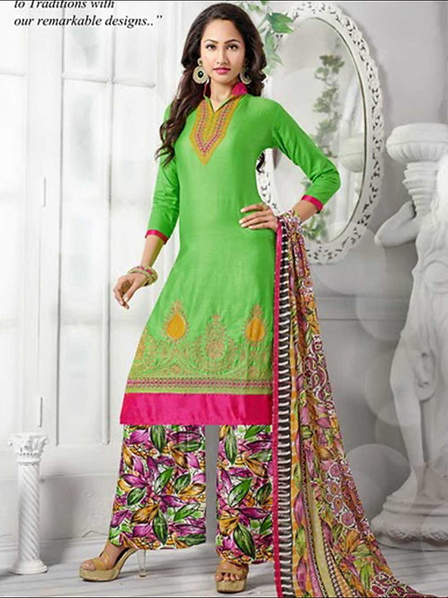 1386LemonGreen and Multicolor Daily Wear Cotton Plazzo Suit