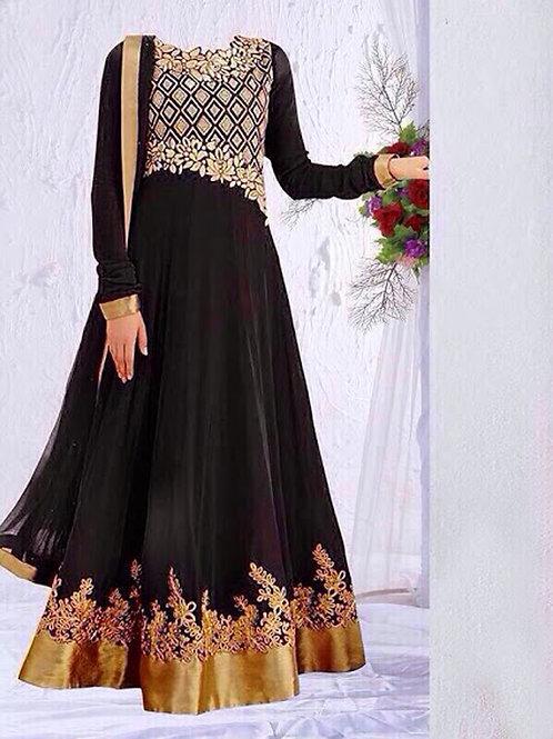 03 Black and Golden Anarkali Suit Replica