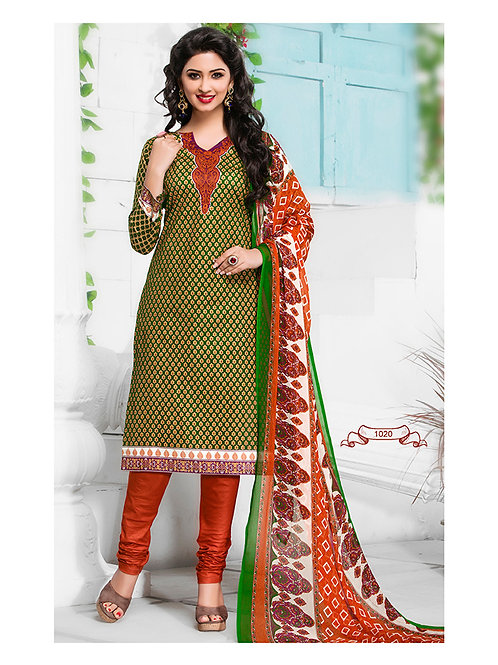 1016Green Yellow and Orange Cambric Cotton Daily Wear Straight Suit