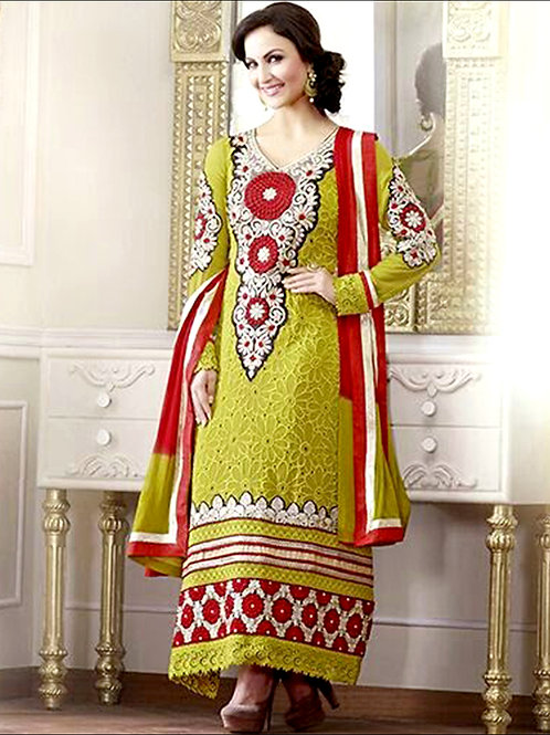 10607 YellowGreen and Red Georgette Straight Suit