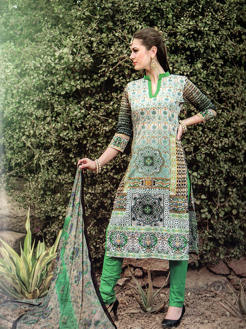 1010Multicolor and LightGreen Printed Cotton Daily Wear Straight Suit