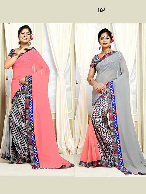 184RosePink and Gray Trending Two Way Saree