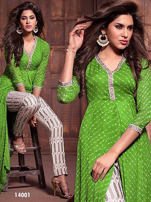 14001 Parrot Green Georgette Designer Suit