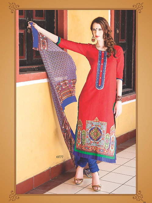 0777A Red and Blue Cotton Jacquard Straight Suit