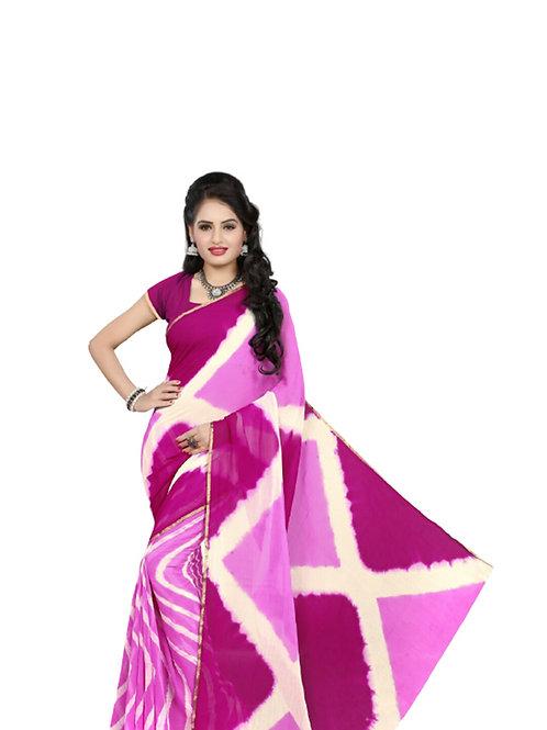 103 Pink Exclusive Diamond Chiffon Laheriya Sarees