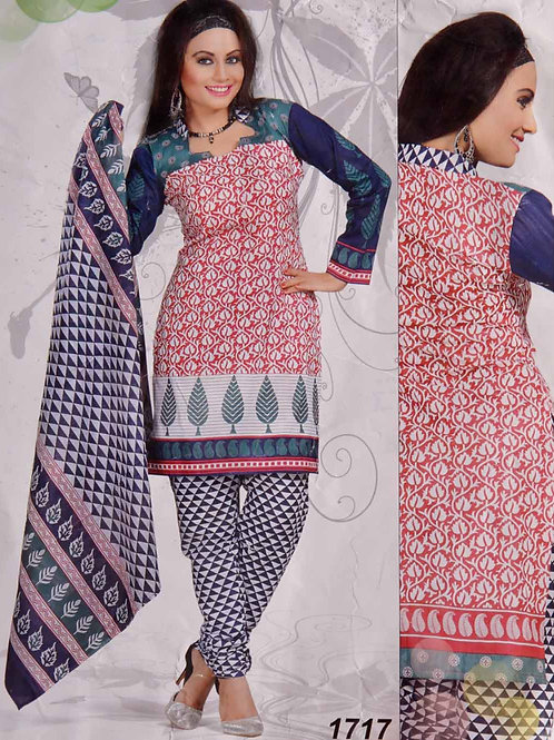 1717 White and Red Printed Salwar Suit