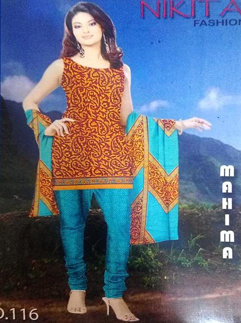 116B Orange and Maroon Printed Salwar Suit