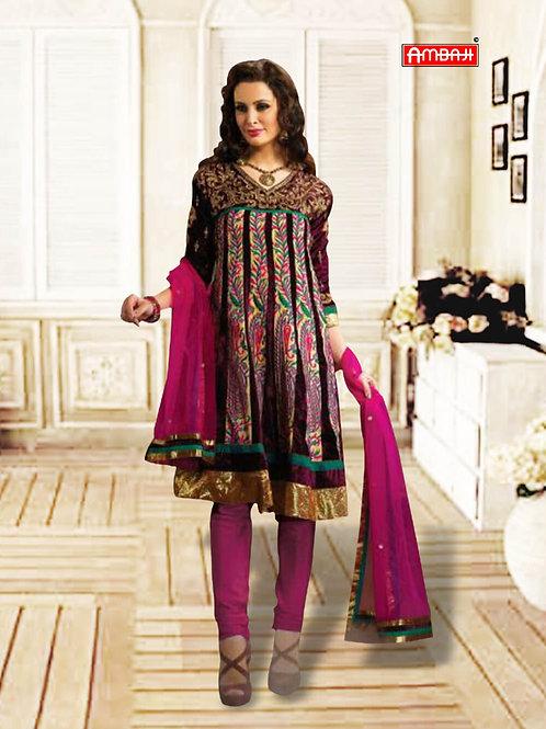 1219Dark Brown and Pink Anarkali Suit