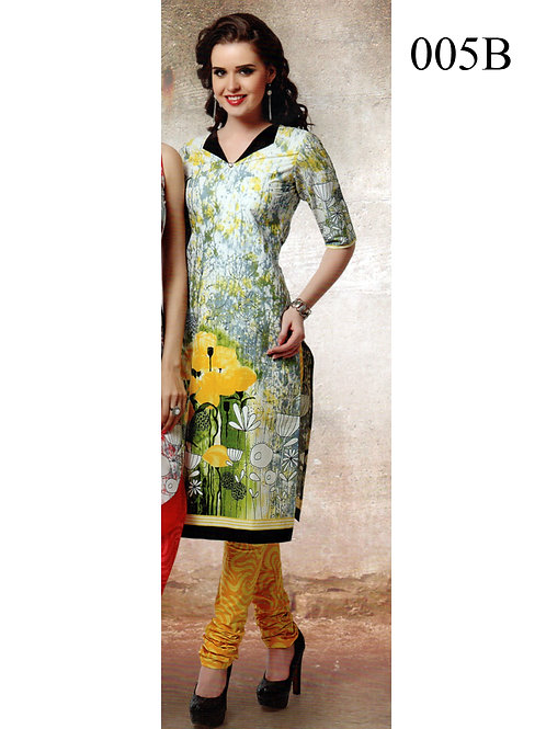 005B White and Green Lawn Cotton Chudidar Suit