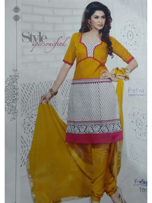 1007Yellow and White Daily Wear Brasso Salwar Suit