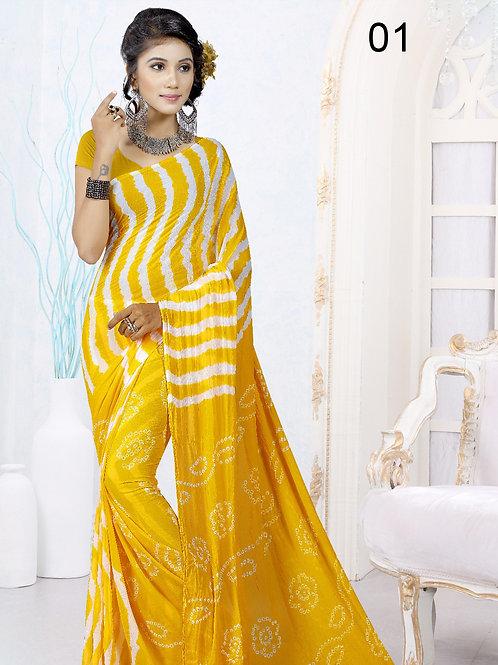 01Yellow Exclusive Designer Laheriya Sarees