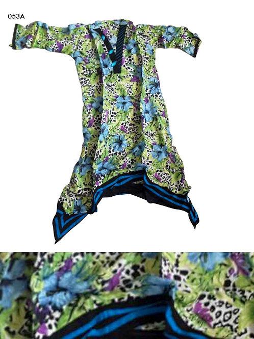 053A Parrot Green and Sky Blue Designer Cotton Kurtis