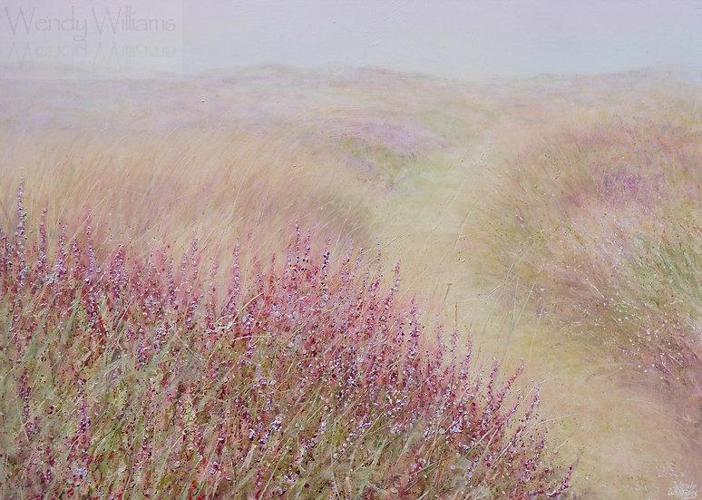 Mist, Heather, Glistening Raindrops
