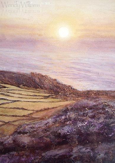 Sunset over Zennor Cliffs   print