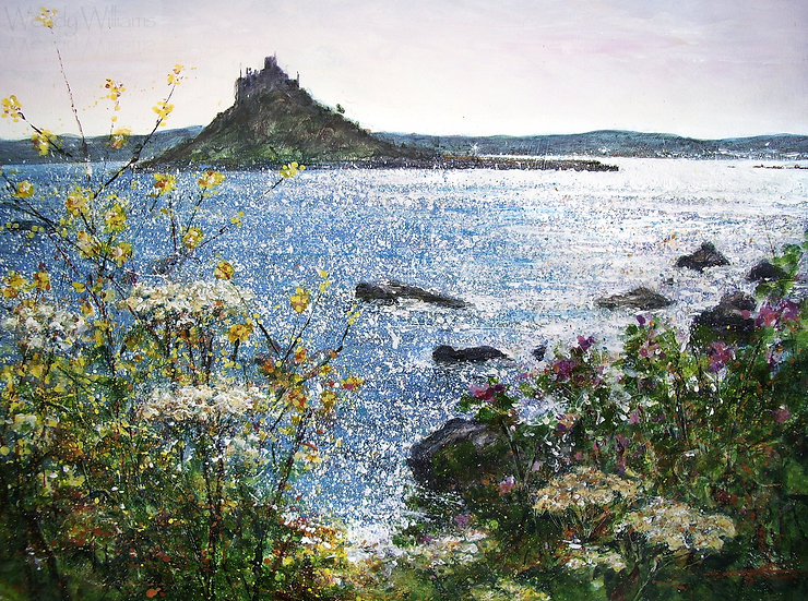 St.Michaels Mount and Cliff Path Flowers print
