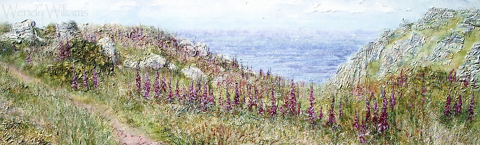 Foxgloves at Maen Cliff Castle   print