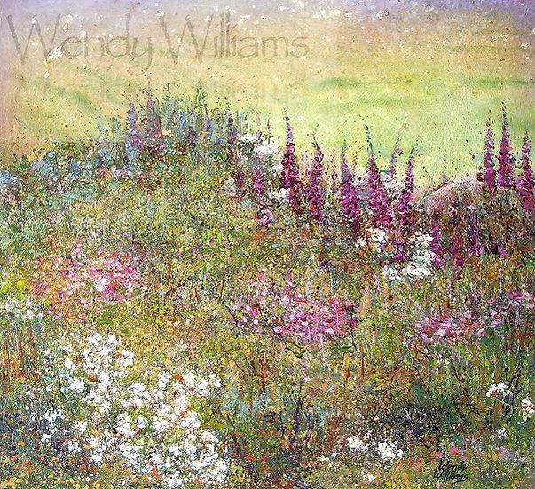 Summer Mist and Foxgloves   print