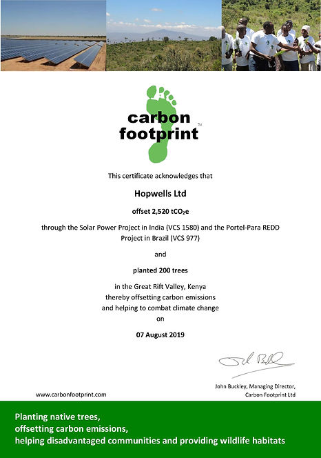 2018 (2017)CFP Offset Certificate Kenya