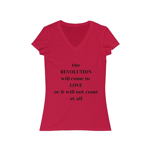 The Revolution Women's Jersey V-Neck Tee (black text)