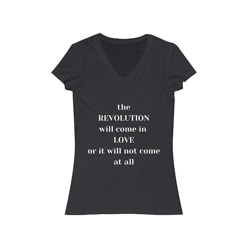 The Revolution Women's Jersey V-Neck Tee (white text)