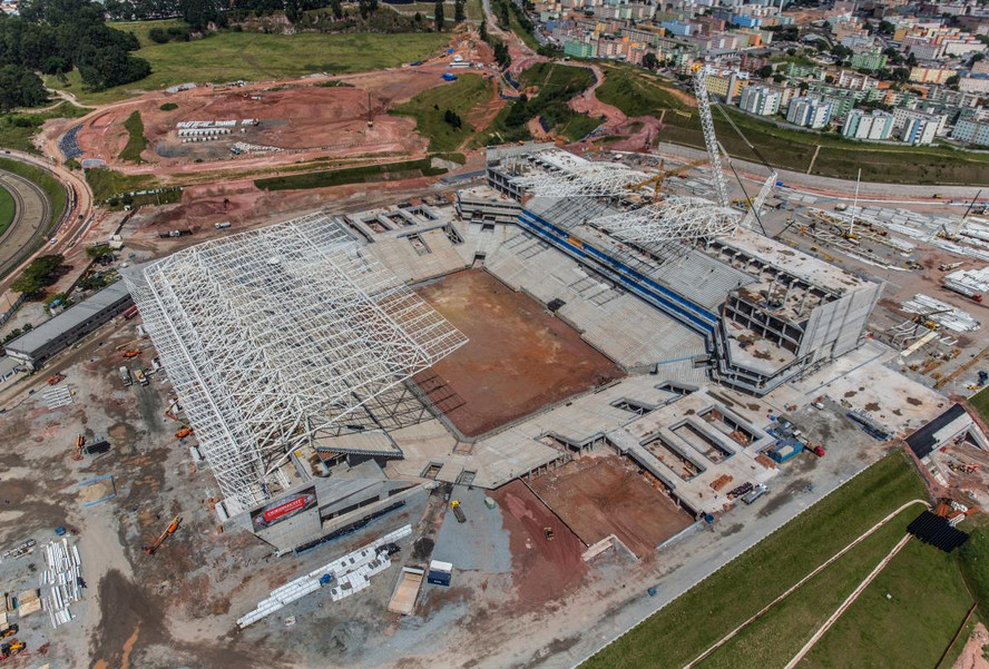 Aerial view of construction phase