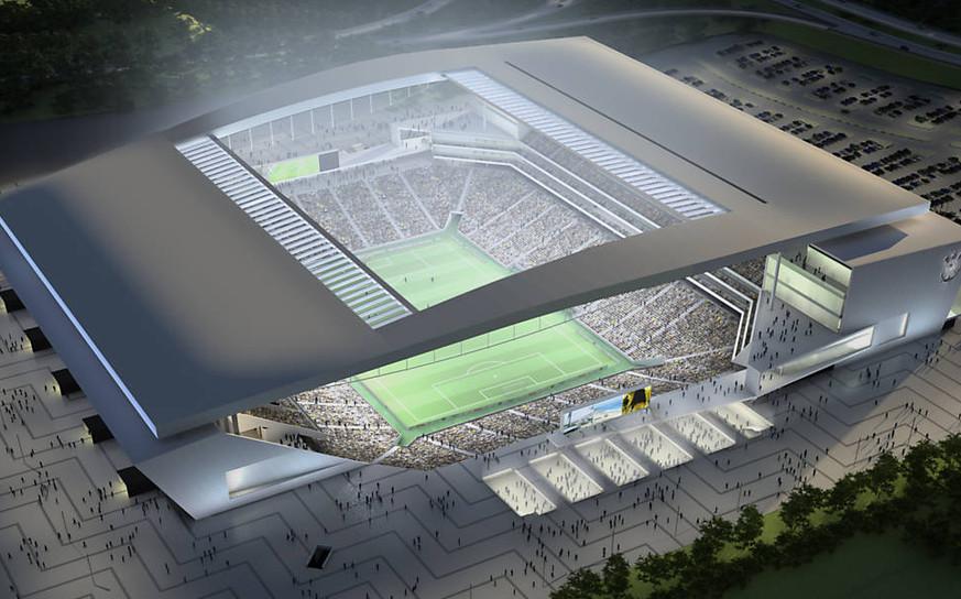 Render of stadium at night
