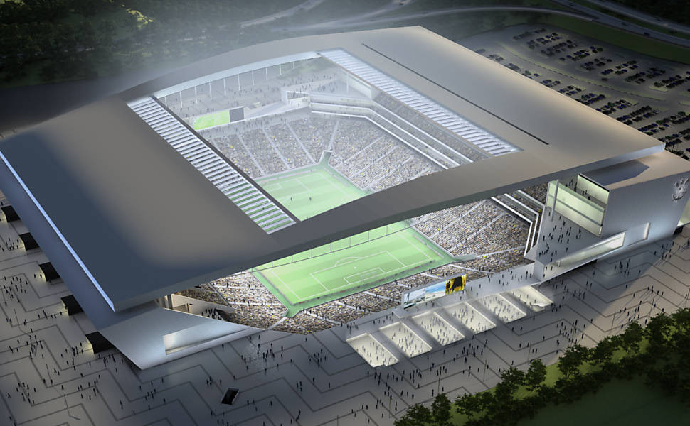 Render of stadium at night